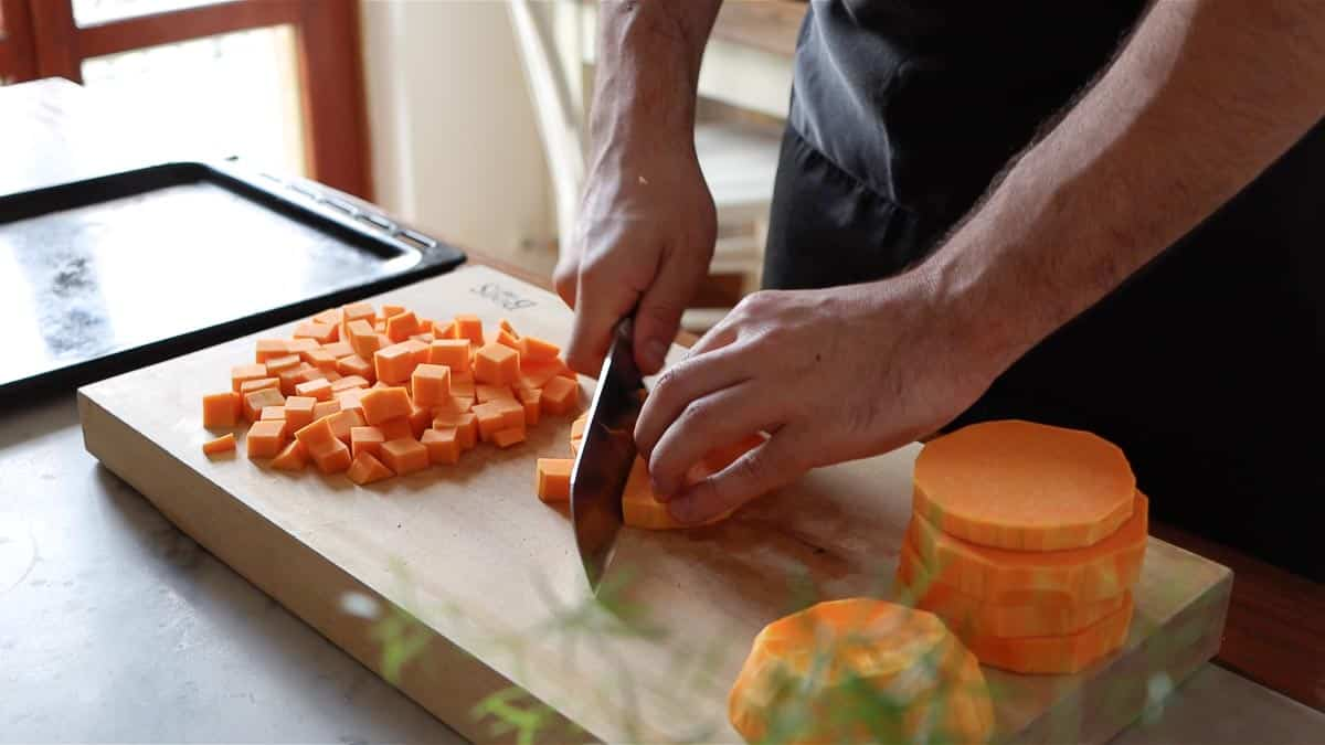 chopping the butternut squash